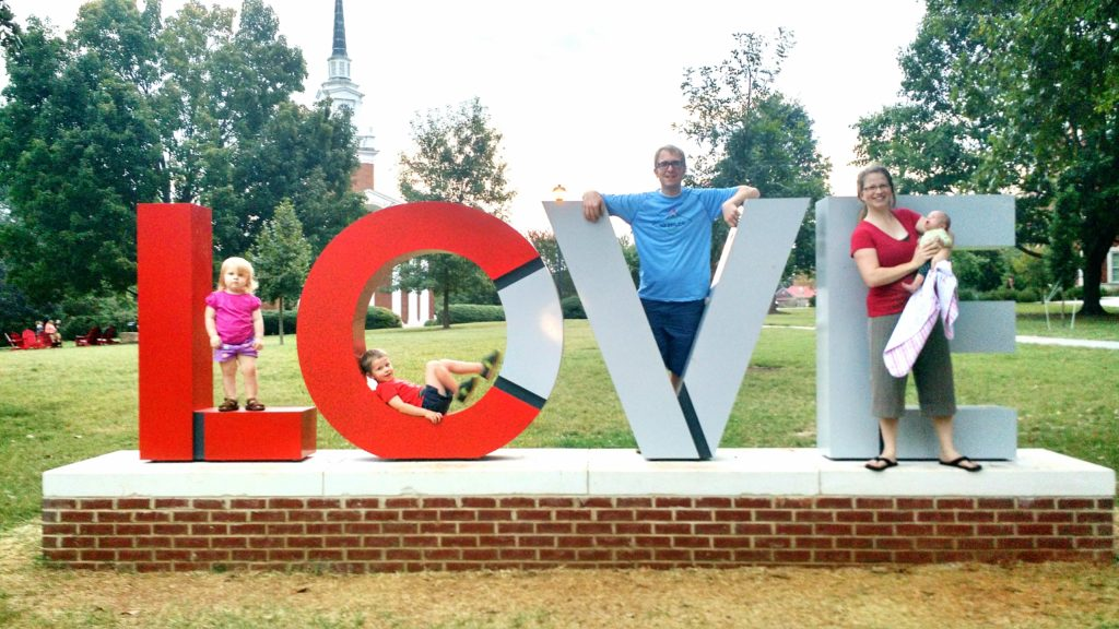 We took this photo with the newly installed LC LOVE sculpture when our youngest child was about six weeks old.